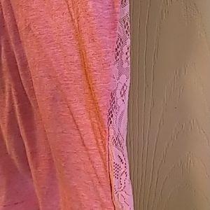 Victoria's Secret Tops - Victoria Secret womens v neck tshirt pink lace XS